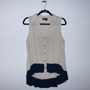 Color Block Detail Tank Top Size Xlarge Navy+Beige
